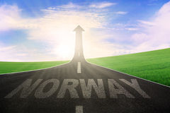 Highway with word of Norway and arrow upward Royalty Free Stock Images