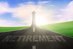 Highway with word of retirement and arrow upward Stock Photography