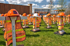 Highway workers fatality memorials. A display commemorating the Pennsylvania highway construction workers who were killed while working on state roadways Royalty Free Stock Photo