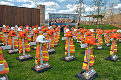 Highway workers fatality memorials. A display commemorating the Pennsylvania highway construction workers who were killed while working on state roadways Royalty Free Stock Images