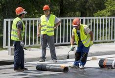 Highway workers waterproof bridge Welding Torch fire Royalty Free Stock Images