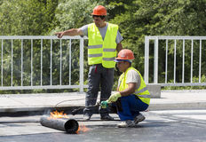 Highway workers waterproof bridge Welding Torch fire Stock Image