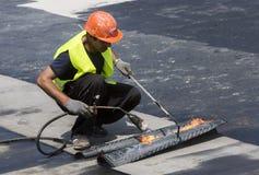 Highway workers waterproof bridge Welding Torch fire Stock Images
