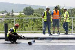 Highway workers waterproof bridge Welding Torch fire Stock Photos