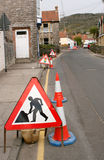 Highway works. Set of highway signs for road works Royalty Free Stock Image