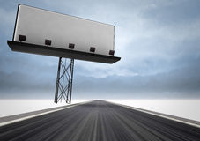 Highway with writable area billboard and dark sky Stock Images