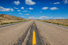 Highway in Wyoming desert Stock Photo