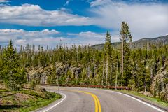 Highway in Yellowstone National Park. Wyoming, USA Stock Photography