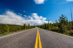 Highway in Yellowstone National Park. Wyoming, USA Royalty Free Stock Images