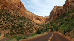 Highway through Zion Canyon Royalty Free Stock Image