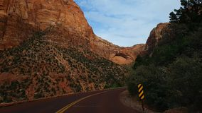 Highway in Zion Canyon Stock Photo