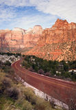 Highway 9 Zion Park Blvd Curves Through Rock Mountains Stock Photography