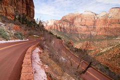 Highway 9 Zion Park Blvd Curves Through Rock Mountains Royalty Free Stock Photography