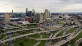 Highways Cover The Landscape Downtown City Center Kansas City MO Royalty Free Stock Image