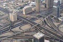 Highways of Dubai. The highways in Dubai seen from the Burj Khalifa royalty free stock photos