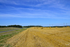 Highways and the Harvested wheat Field Stock Photography