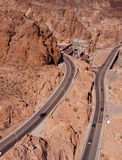 Highways hug the steep, narrow canyon Stock Photo