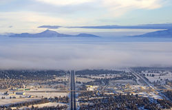 Highways and Mountains Winter Aerial View Bend Oregon Stock Images