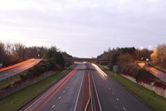 Highways in Britain. Highways A78 ,NEAR Dreghorn,winter,2016 royalty free stock images