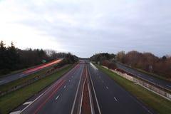 Highways in Britain. Highways A78 ,NEAR Dreghorn,winter,2016 stock photos