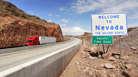 Highways and red truck in Nevada, USA. May 9, 2016 Stock Photo
