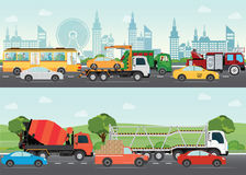 Highways road with many different vehicles. Highways road with many different vehicles with traffic traveling passing through the city and green landscape vector illustration