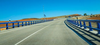 Highways of Spain - clear blue sky day. Stock Photography
