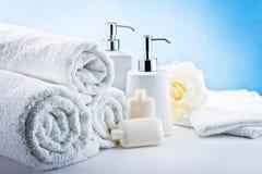 Higiene blanca del cuarto de baño de los accesorios Imagenes de archivo