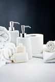 Higiene blanca del cuarto de baño de los accesorios Fotos de archivo