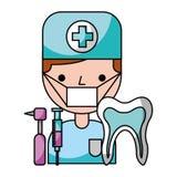 Higiene de las herramientas del diente del hombre del dentista dental stock de ilustración