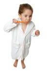 Higiene dental - dientes del cepillo de la muchacha con toothbrus Foto de archivo