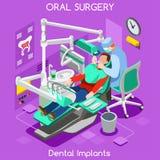 Higiene dos dentes do implante dental e clarear o dentista e o paciente do centro da cirurgia oral Sala isométrica lisa da clínic ilustração royalty free