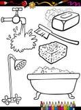 A higiene dos desenhos animados objeta a página da coloração Fotografia de Stock Royalty Free