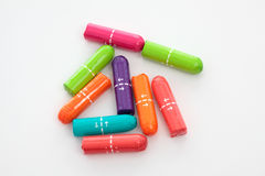 Higiene femenina de los tapones coloridos Imágenes de archivo libres de regalías