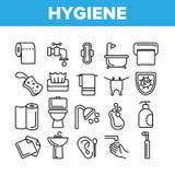 Higiene, l?nea fina de limpieza sistema del vector de los iconos stock de ilustración