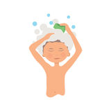 Higiene pessoal da manhã e procedimento de lavagem das mãos menino da higiene Fotos de Stock Royalty Free