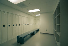 Higienic locker room. A clean locker room with benches at hospital or any other sports fascility stock photo