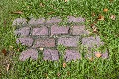 Cobblestone and Grass. Hign angle shot of cobblestone path surrounded by grass Royalty Free Stock Photo