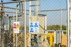 Hign voltage sign. Comunication station Stock Images
