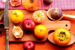 Higo, caqui, granada, aguacate y mandarines (mandarinas) en fondo áspero Todavía tema de la vida Foto de archivo libre de regalías