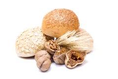Higo y nuez y pan secados Foto de archivo libre de regalías