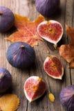 Higos y hojas de otoño frescos imágenes de archivo libres de regalías