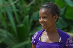 HIGUEY,多米尼加共和国- 2015年10月29日:未认出的多米尼加共和国的女孩 库存照片