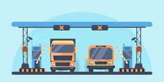 higway的通行费 关门建筑 为自动充电成拱形在收费公路 在车行道的公共汽车和卡车卡车 皇族释放例证
