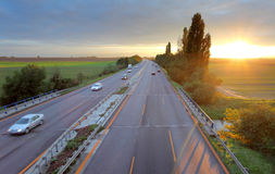 Higway road with cars Stock Photography