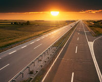 Hiighway at sunset, near Belgrade in Serbia Royalty Free Stock Photo