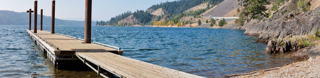 Hiigins point, Coeur d Alene lake. View of coeur d Alene lake late in the season with no boats or people Royalty Free Stock Photos