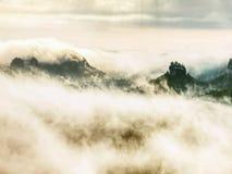 Hiil szczyty wzrastający od ciężkiej mgły Pierwszy silni słońce promienie zdjęcie stock