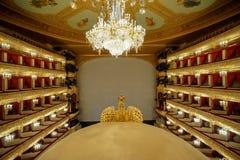 Hij Bolshoi-Theater een historisch theater van ballet en opera in Moskou, Rusland Royalty-vrije Stock Foto's