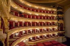 Hij Bolshoi-Theater een historisch theater van ballet en opera in Moskou, Rusland Stock Foto